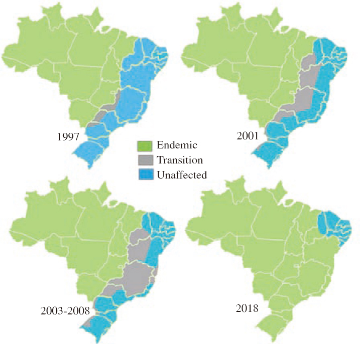 Figure 5: Areas considered endemic (green), of transition (grey), and uninfected (blue) in the years 1997, 2001 and 2003-2008<sup>[42]</sup>.