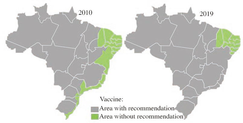 Figure 6: Brazilian area of vaccine recommendation in 2010, and 2019<sup>[42],[59]</sup>. Grey: Area without vaccine recommendation; Green: Area with vaccine recommendation.