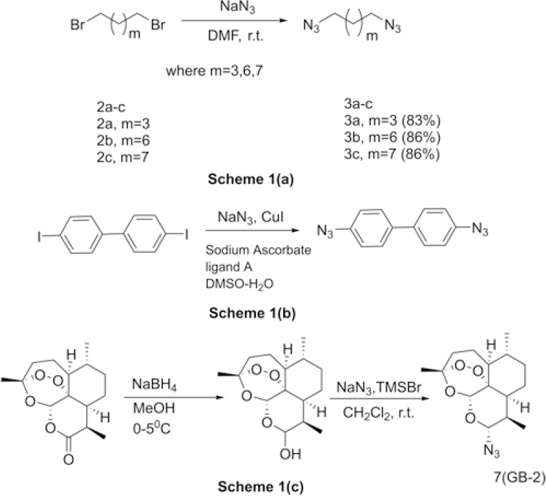 Figure 1: Scheme 1a: synthesis of aliphatic diazides; Scheme 1b: synthesis of aromatic diazides; Scheme 1c: synthesis of 10 -azidoartemisinin (GB2).