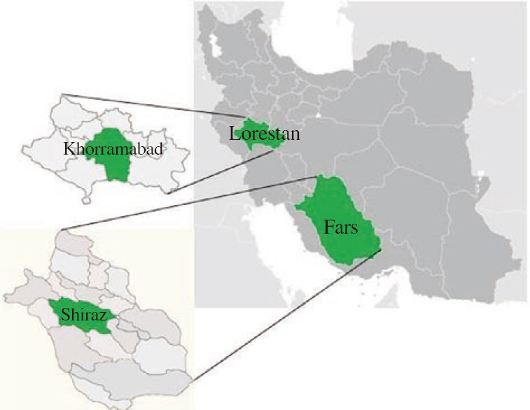 Figure 1: Geographic location of studies areas in Iran (Fars and Lorestan Provinces).
