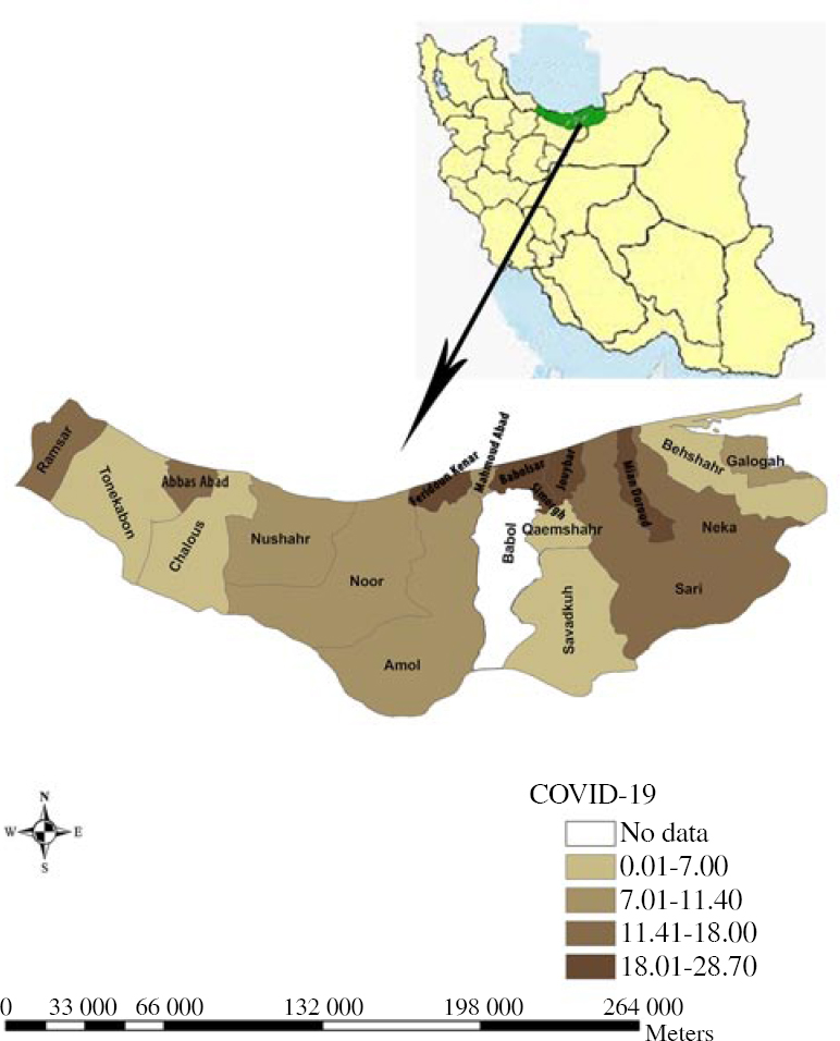 Figure 1: The distribution of IgM or IgG seropositive cases based on city (county) in Mazandaran province